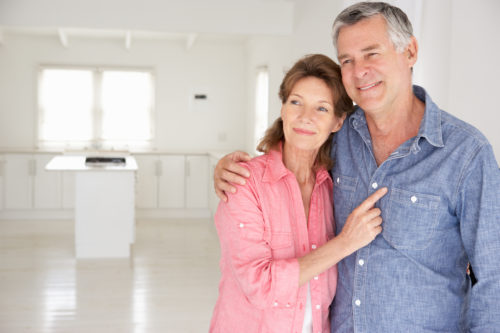 Senior couple in age-friendly new hom